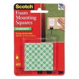 3M Scotch Mounting Squares 1 - Precut Foam 3M MMM111 Mounting Squares - 1: Color: White Quantity: 16 squares Dimensions: 1L x 1W Weight Holding Capacity: 2 pounds Mounting Application: Double-Sided Adhesive (Permanent Adhesion) MMM111