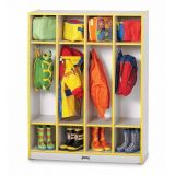 Rainbow Accents 4 Section Coat Locker - Red