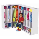 Rainbow Accents 2 Section Coat Locker with Step - Teal