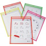 C-Line® Reusable Dry Erase Pockets, 9 x 12, Assorted Neon Colors, Pack of 10