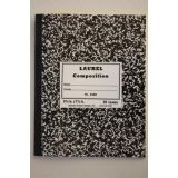 Notebook, Sewed Black Marble Semi-Stiff Covers, Composition Book, 100 Pages