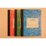 Notebook, Sewed Assorted Marble Hard Covers, Composition Book, 200 Pages