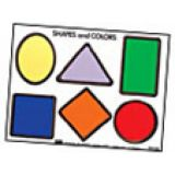 Shapes/Color Puzzle w/out Knobs ~  9 inchesx 12 inches ~  6 Pieces