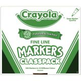 Crayola® Classpack Markers, 200 ct., non-washable fine tip, 10 assorted colors