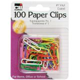 Vinyl-Coated Paper Clips, No. 1 Size 1-3/8, Pack of 100