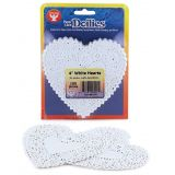 Doilies, 4 White Hearts