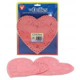 Doilies, 6 Pink Hearts