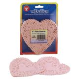 Doilies, 4 Pink Hearts