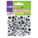 Wiggle Eyes, Black, 100 pieces in assorted sizes