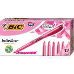 BIC® Brite Liner® Highlighters, Pink, Dozen