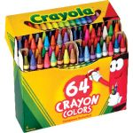 Crayola® Regular Size Crayons, 64 crayons, all colors including gold & silver in a hinged-top box
