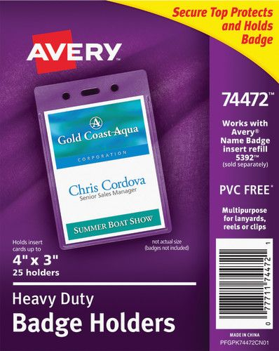 Avery® Heavy Duty Secure Top™ Badge Holders, 4
