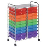 Mobile Organizer, 20 Drawer Double-Wide, Assorted