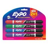 Expo® Dual Ended Dry Erase Markers, Set of 4, Black