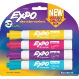 Expo® Low Odor Dry Erase Markers, Vibrant Assorted Colors, Pack of 4