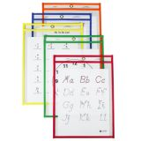 C-Line® Reusable Dry Erase Pockets, 9 x 12, Primary Colors, Box of 25