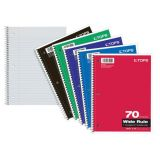 TOPS® Wirebound Subject Notebooks, 1 Subject, Wide Ruled