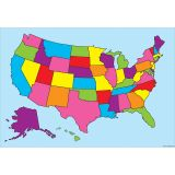 10 PK SMART POLY US MAP CHARTS DRY-ERASE SURFACE