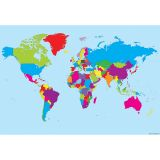 10 PK SMART POLY WORLD MAP CHARTS DRY-ERASE SURFACE