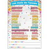 (10 EA) CHART FRENCH MONTHS OF THE YEAR DRY-ERASE SURFACE