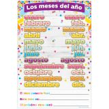 (10 EA) CHART SPANISH MONTHS OF THE YEAR DRY-ERASE SURFACE