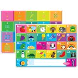 10PK ABC & NUMBERS 1-20 LEARN MAT 2 SIDED WRITE ON WIPE OFF