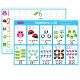10PK NUMBERS 1-10 LEARNING MAT 2 SIDED WRITE ON WIPE OFF