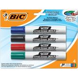 BIC INTENSITY BOLD DRY ERASE CHISEL POINT MARKERS 4 PACK