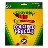 CRAYOLA COLORED PENCILS 50CT FULL LENGTH ASSORTED COLORS PEGGABLE