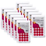 (12 PK) COLOR CODING LABELS RED