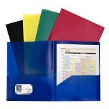 ASSORTED TWO POCKET POLY PORTFOLIOS WITHOUT PRONGS PACK OF 10