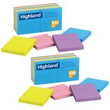 (2 PK) HIGHLAND SELF STICK 12 PADS PER PK 3X3 REMOVABLE NOTES