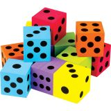 12 PACK FOAM COLORFUL LARGE DICE