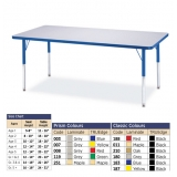 Berries Adjustable Activity Table -  Rectangle (24x48) - Legs 15-24 (Elementary) - Grey/Yellow
