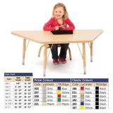 Berries Adjustable Activity Table -  Trapezoid (24x48) - Legs 15-24 (Elementary) - Red/Black
