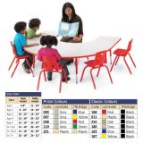 Berries Adjustable Activity Table -  Horseshoe (60x66) - Legs 11-15 (Toddler) -  Grey/Blue