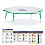 Berries Adjustable Activity Table -  Six-Leaf (60) - Legs 15-24 (Elementary) - Grey/Yellow
