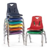 Berries® Stacking Chair with Chrome-Plated Legs - 10 Ht - Blue
