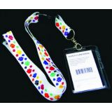 Multicolor Paw Lanyard ID Holder