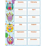 Colourful Owls Birthday Chart