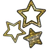 Black And Gold Stars Cut-Outs -  New! Sparkle and Shine