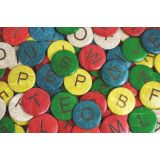 Coconut Letters Uppercase (52 Pieces. Sizes: 1.5dia. and 1dia.)