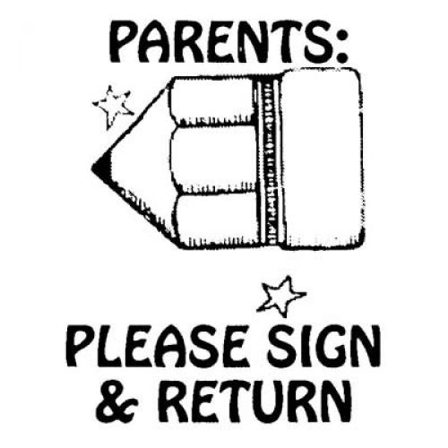 Parents Please Sign And Return Self Inking Stamp Pad CEJ9879