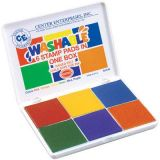 Washable 6-in-1 Stamp Pads - Red, Yellow, Blue, Green, Purple, Orange