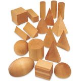 Hardwood Geometric Solid Set  - Set of 6 (Cube, Cylinder, Sphere, Cone, Triangular prism and Pyramid)