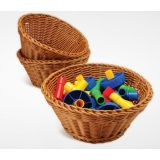 Plastic Woven Baskets Round Set Of 3