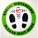 Social Distancing Round Floor Vinyl Sign Sticker - 12 Diameter