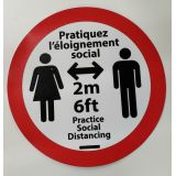 Social Distancing Round Sign 12 French
