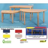 Tables with Wooden Legs- Half Round (24x48), 22 Legs (Red)
