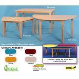 Tables with Wooden Legs- Trapezoid (24x48), 22 Legs (Blue)